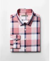 Express classic plaid spread collar dress shirt