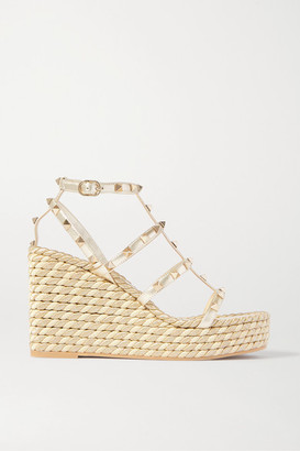 Valentino Garavani Rockstud 95 Metallic Leather Espadrille Wedge Sandals - Gold