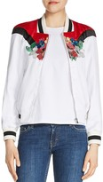 Maje Betty Embroidered Satin Varsity Jacket