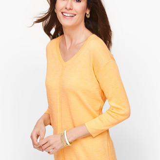 Talbots Cotton V-Neck Sweater - Marled