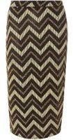 Dorothy Perkins Womens Gold Zig Zag Tube Skirt- Gold