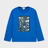 Paul Smith Boys' 7+ Years Blue Glow-In-The-Dark 'Subterranean' Print T-Shirt