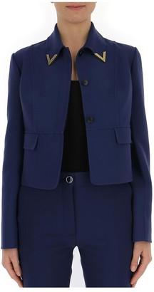 Valentino V Collar Cropped Jacket
