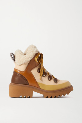 Chloé Shearling And Rubber-trimmed Leather Ankle Boots - Brown
