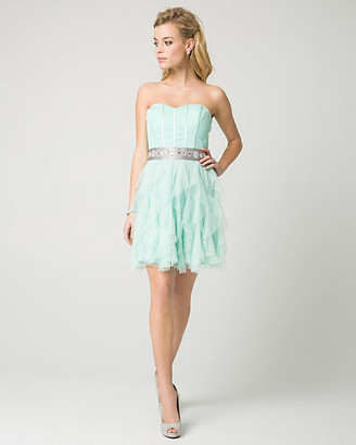 Le Château Sparkle Mesh Sweetheart Party Dress