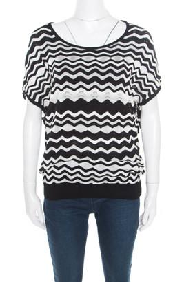 M Missoni Monochrome Wave Pattern Jacquard Perforated Knit Top M