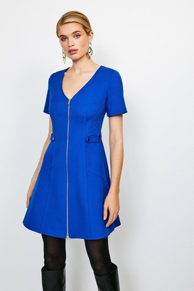 Karen Millen Structured Crepe Quilted Waist A- Line Dress