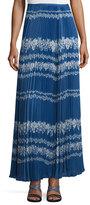 Self-Portrait Pleated Flower Spell Maxi Skirt, Cobalt Blue/Cream