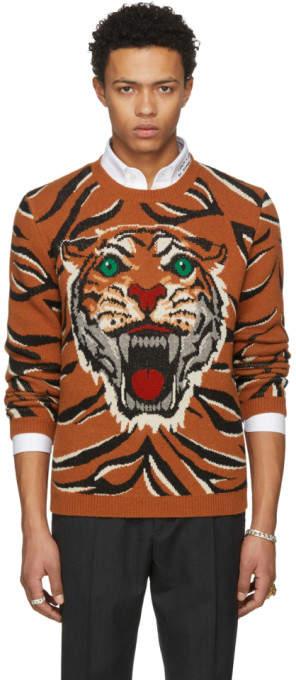 Gucci Orange Guccy Tiger Intarsia Sweater