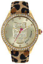 Betsey Johnson Skull Motif Dial and Leopard-Print Leather Strap Watch