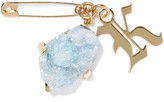 Christopher Kane Gold-tone Stone Brooch - Sky blue