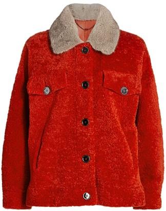 The Fur Salon Mink Fur-Collar Shearling Moto Jacket