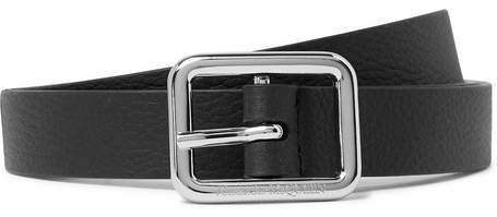 Alexander McQueen 2cm Black Full-Grain Leather Belt - Men - Black
