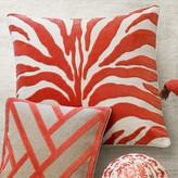 Velvet Applique Zebra Pillow Cover, Coral