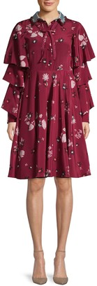 Valentino Floral Silk & Wool Necktie Dress