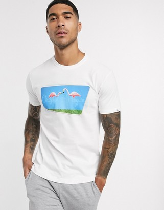 Original Penguin lawn flamingo photo print t-shirt in white