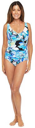 Maxine Of Hollywood Swimwear Retro Floral Twist Front Mio One-Piece (Cobalt) Women's Swimsuits One Piece