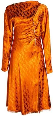 Versace One-Shoulder Jacquard Dress