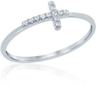 La Preciosa Sterling Silver Small Cubic Zirconia Sideways Cross Ring