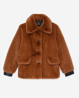 The Kooples Brown faux fur coat with leather details
