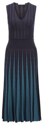 HUGO BOSS Slim Fit Knitted Dress With Pleated Skirt - Patterned