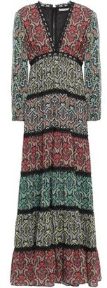 Alice + Olivia Tiered Lace-trimmed Printed Crepe Maxi Dress