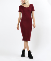 Dark Burgundy Scoop Neck Bodycon Dress