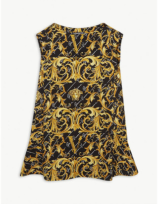 Versace Baroque and medusa print sleeveless cotton dress 4-14 years