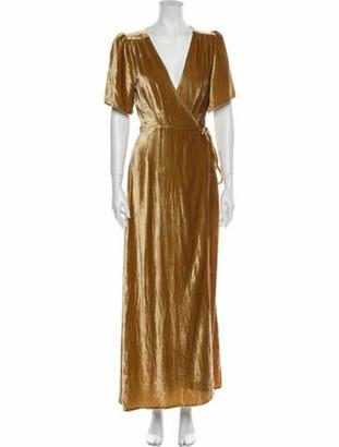 Reformation V-Neck Long Dress Gold