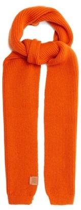 Loewe Logo-patch Ribbed-wool Scarf - Orange
