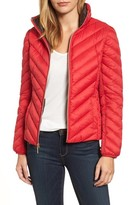MICHAEL Michael Kors Women's Chevron Quilted Packable Down Puffer Jacket With Stowaway Hood