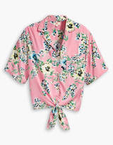 Levi's Romantic Floral Pink Viscose Clover Printed Blouse - L - Pink/Yellow/Green