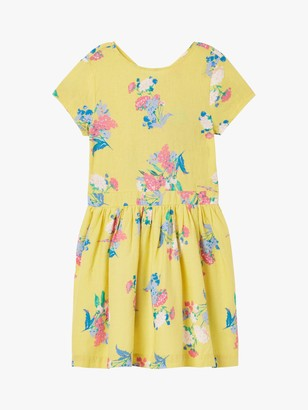 Joules Little Joule Girls' Floral Teaparty Dress, Yellow