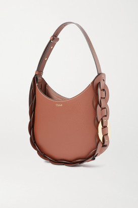 Chloé Darryl Small Braided Smooth And Textured-leather Shoulder Bag - Brown