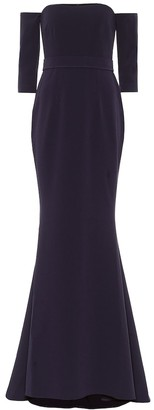 Safiyaa Stretch-crepe off-shoulder gown