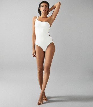 Reiss Bethany - Asymmetric Swimsuit With Button Detail in White