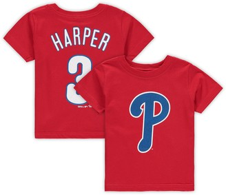 Majestic Infant Bryce Harper Red Philadelphia Phillies Player Cap Logo Name & Number T-Shirt