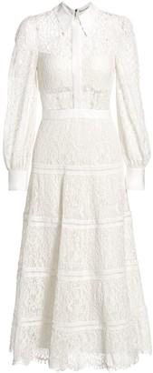 Alice + Olivia Anaya Lace Midi Shirt Dress