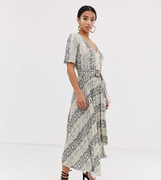 Asos DESIGN Petite v neck midi dress with pleated skirt and belt in snake print-Multi