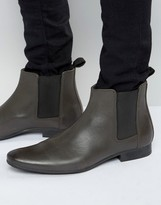 Frank Wright Chelsea Boots In Grey Leather