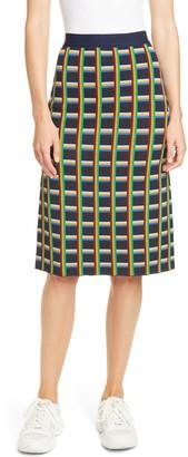 Tory Sport Circuit Plaid Knit Skirt