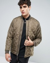 Abercrombie & Fitch Quilted Jacket Boucle In Green