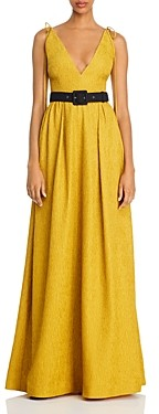 Rebecca Vallance Greta Plunging Belted Gown