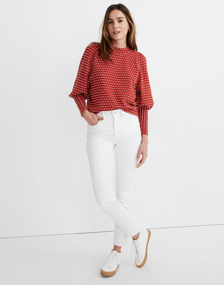 Madewell Puff-Sleeve Mockneck Top in Bow-Tie Jacquard