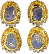 VICTOR VELYAN Fire Opal And Diamond Earrings