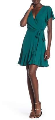 BCBGeneration Short Flutter Sleeve Waist Tie Woven Dress