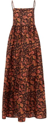Matteau The Tiered Low Back Floral-print Cotton Maxi Dress - Pink Print