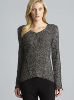 Calvin Klein V-Neck Exposed Seam Marled Knit Top