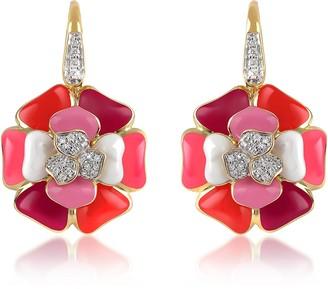 Rosato Tearose - Diamond and 18K Gold Pink Flower Earrings