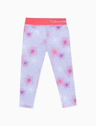 Calvin Klein Big Girls Performance Floral Capri Leggings